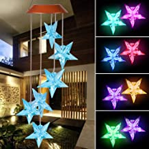 xxschy Solar Blue Stars LED Wind Chimes Outdoor- Waterproof Solar Powered LED Changing Light Color 6 Blue Stars Mobile Romantic Wind-Bell for Home, Party, Festival Decor, Night Garden Decoration