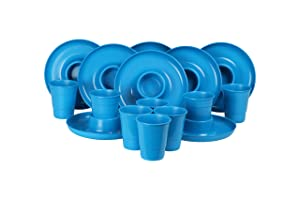 GreatPlate GP-GCP-TEAL-8x8AZ Teal Combo Pack, 8 Teal GreatPlates, Food Tray and Beverage Holder, 8 Teal GreatCups, Dishwasher Safe, Microwave Safe, Made in USA, Picnics, Parties, Tailgates, Appetizers
