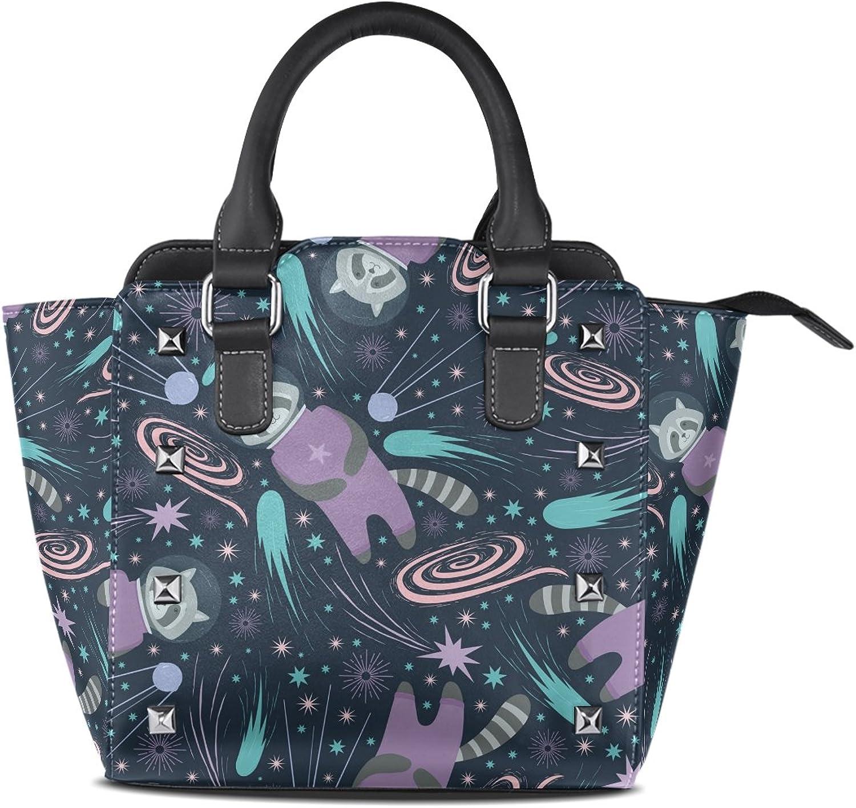 My Little Nest Women's Top Handle Satchel Handbag Cute Universal Raccoon Ladies PU Leather Shoulder Bag Crossbody Bag
