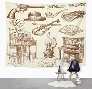 Suklly Tapestry Wall Hanging Western Wild West Collection Vintage Gun Saloon Sketch Cowboy Home Decor Polyester Living Bedroom Dorm 60 X 80 Inches Picnic Mat Beach Towel Bed Cover