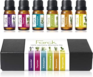 FORCK Ätherische Öle Set, 100% Pur & Naturreines Aromatherapie Duftöl, 6 x 10 ml Lavendel, Thymian, Eukalyptus, Zitronengras, Rosmarin, Bergamotte
