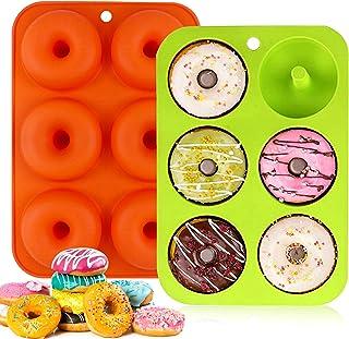 Moules à Donuts en Silicone Lot de 2 Moule pour Beignets Antiadhésif 6 Cavités Donut Silicone Baking Pan,Convient pour Les...