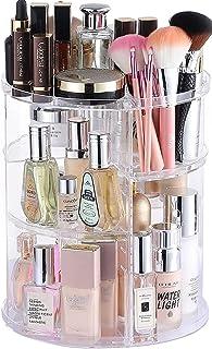 Cq acrylic 360 Degree Makeup Organizer Makeup for حمام ، 4 ردیف قابل تنظیم لوازم آرایشی و لوازم آرایشی و لوازم آرایشی Makeup ، Clear