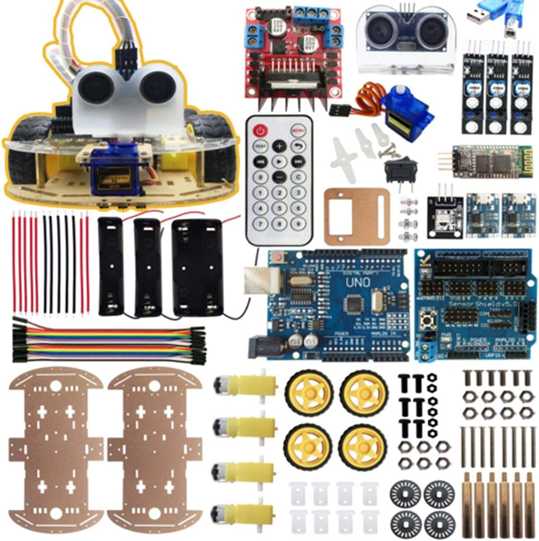Bobury 4-Rad-intelligenter Roboter-Auto Roboter-Auto Roboter-Auto Chassis Kits IR Hindernis vermeiden Linie Tracking-Kompatibel für Arduino B07JHL78NM | Bevorzugtes Material  0e9e35