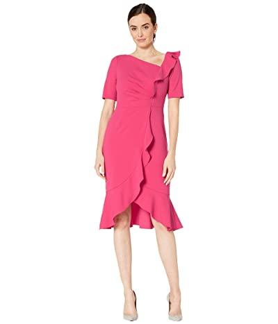 Adrianna Papell Draped Short Crepe Dress with Elbow Sleeves (Geranium) Women
