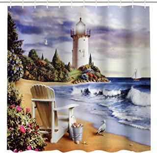 Seaside Landscape Shower Curtain, Coastal Seashore Lighthouse Sailing Boat on Ocean Waves Wooden Chair & Bird on beach Art Print, Antique Fabric Bathroom Décor Curtain,72 x 72 Inch, Blue, White, Grey