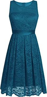 TiaoBug Women Floral Lace Bridesmaid Short Dress Evening Prom Gown