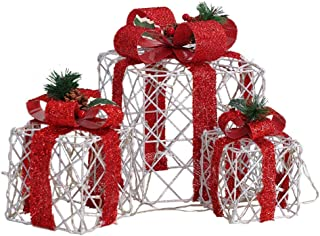 Incbruce Set of 3 Lighted Boxes with Bows Present, Outdoor and Indoor Xmas Holiday Art Decorations with Lights (Hollow)