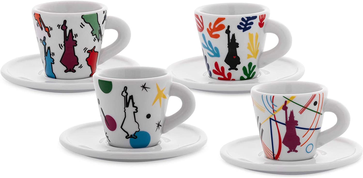 2 Porcelain Nutcracker and The Four Realms Cups Set Mini Express 2-Cup RED Italian Import Bialetti