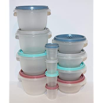 Asst Vintage Tupperware Lid 812 Kitchen Storage Accordion push button Colors