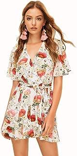 Best floral mini wrap dress Reviews
