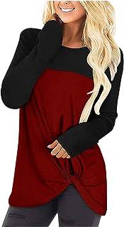 Xmiral Casual Losse Fit Blouses vrouwen Kleurblok Lange Mouw T Shirts Front Twist Knoop Tunieken Tops