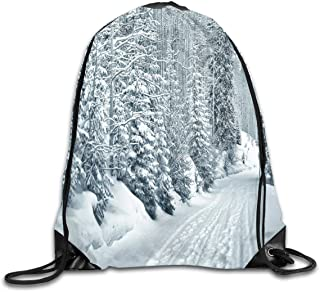 Drawstring Backpack Sports Gym Bag Bulk Bags Cinch Sacks Pull String Bags,Ski Themed Snowy Road Cold Parts Of The World Footprints Colorado United States,for Women Men Children Large Size