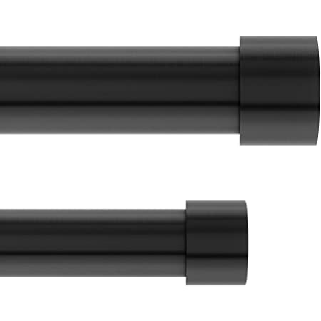 Umbra Cappa 1-Inch Double Curtain Rod, Includes 2 Matching Finials, Brackets & Hardware, 66 to 120-Inch, Brushed Black