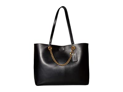 COACH Signature Chain Convertible Tote (Black/Brass) Handbags