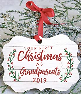 Custom Wood Ornament Our First Christmas As Grandparents 2019
