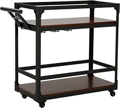 Amazon.com - South Shore Metal Bar Cart on Wheels with Glass ...