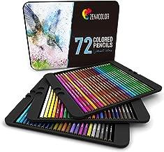 72 Crayon de Couleurs, Numérotés, avec Boîte Métal Zenacolor - Set de 72 Couleurs Uniques et Différentes - Rangement Facile avec 3 Etuis (72 Metal)