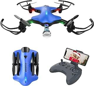 ATOYX AT-146 Drone con Cámara, Drone Plegable con App WiFi FPV 720 HD, Altitud Hold, Modo sin Cabeza, Una Tecla de Despegue y Aterrizaje de Gravedad RTF, Mejor Regalo, Azul