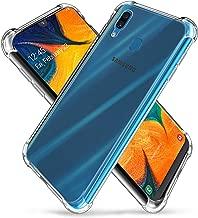 جراب لهاتف Galaxy A30/A20 (2019) من السيليكون الشفاف الشفاف المرن المقاوم للخدش مع غطاء واقٍ من الصدمات رباعي الزوايا متوافق مع هاتف Samsung Galaxy A30/A20 (2019)(شفاف)