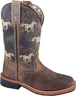 Smoky Children's Rancher Stitched Horse Western Cowboy Boots - Brown Distressed