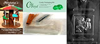 Cybrtrayd Wrestling Chocolate Mold with Chocolatier's Bundle, Includes 50 Cello Bags, 25 Gold & 25 Silver Twist Ties and Chocolatier's Guide