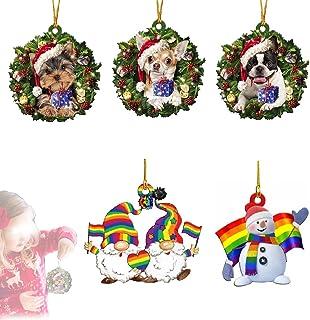 Hengyuan 5 Pendentifs en Bois pour Arbre de Noël, Ornements de Noël Suspendus, décorations de Vacances, Cadeaux personnali...