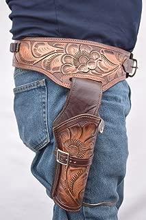 Leathertown USA Gun Holster & Belt Cowboy Western Style Rig .38/.357 Cal Single Drop Holster Standard .38/.357 Barrel
