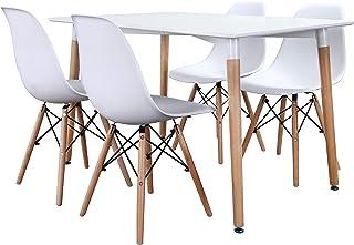 Noorsk Design Conjunto de mesas y sillas de Comedor o Cocina (Silla Blanca, 120x75x75 cm.)