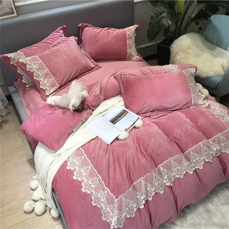 Ensemble de literie en Flanelle épaisse et chaleureuse Tissu en Molleton en Dentelle Housse de Couette Drap de lit Linge de lit 1