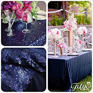 TRLYC Sequin Tablecloth Rectangular Navy Blue Sequin Table Cloth for Wedding-60x105