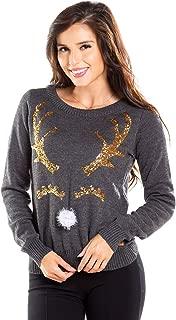 Women's Sequin Happy Deer Christmas Sweater - Gray Pom Pom Reindeer Ugly Christmas Sweater