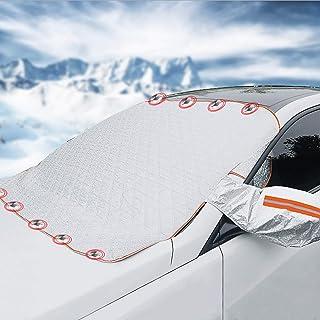 Bseical Zimowa plandeka na przednią szybę samochodu, osłona na przednią szybę samochodu, ochrona przed zamarzaniem, półgar...