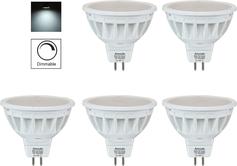 Aiwode Regulable 5W MR16 Bombillas LED GU5.3 Reflector,Blanco Frio 6000K,Equivalente 50W 540LM RA85,Paquete de 5.