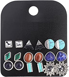 9 Pairs Vintage Triangle/Teardrop/Round Turquoise Stud Earrings Set for Women Silver Plated