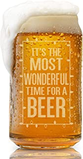 Beer Can Glass-It's The Most Wonderful Time For A Beer-Funny Christmas Present for Men and Women
