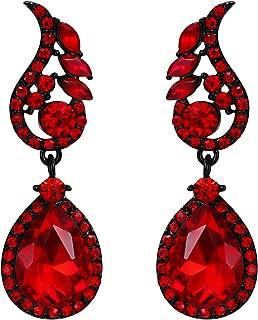 Flyonce Rhinestone Crystal Boho Style Floral Leaf Teardrop Pierced Dangle Earrings