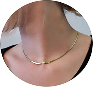 ZogCowy 14K Gold/Silver Plated Flat Snake Chain Necklace Adjustable Punk Herringbone Choker Necklace for Women Girls 1/2/3...
