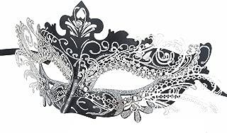 Coxeer Masquerade Mask Laser Cut Metal Masks Mardi Gras Halloween Masks for Women Ball Party(Black/Silver)