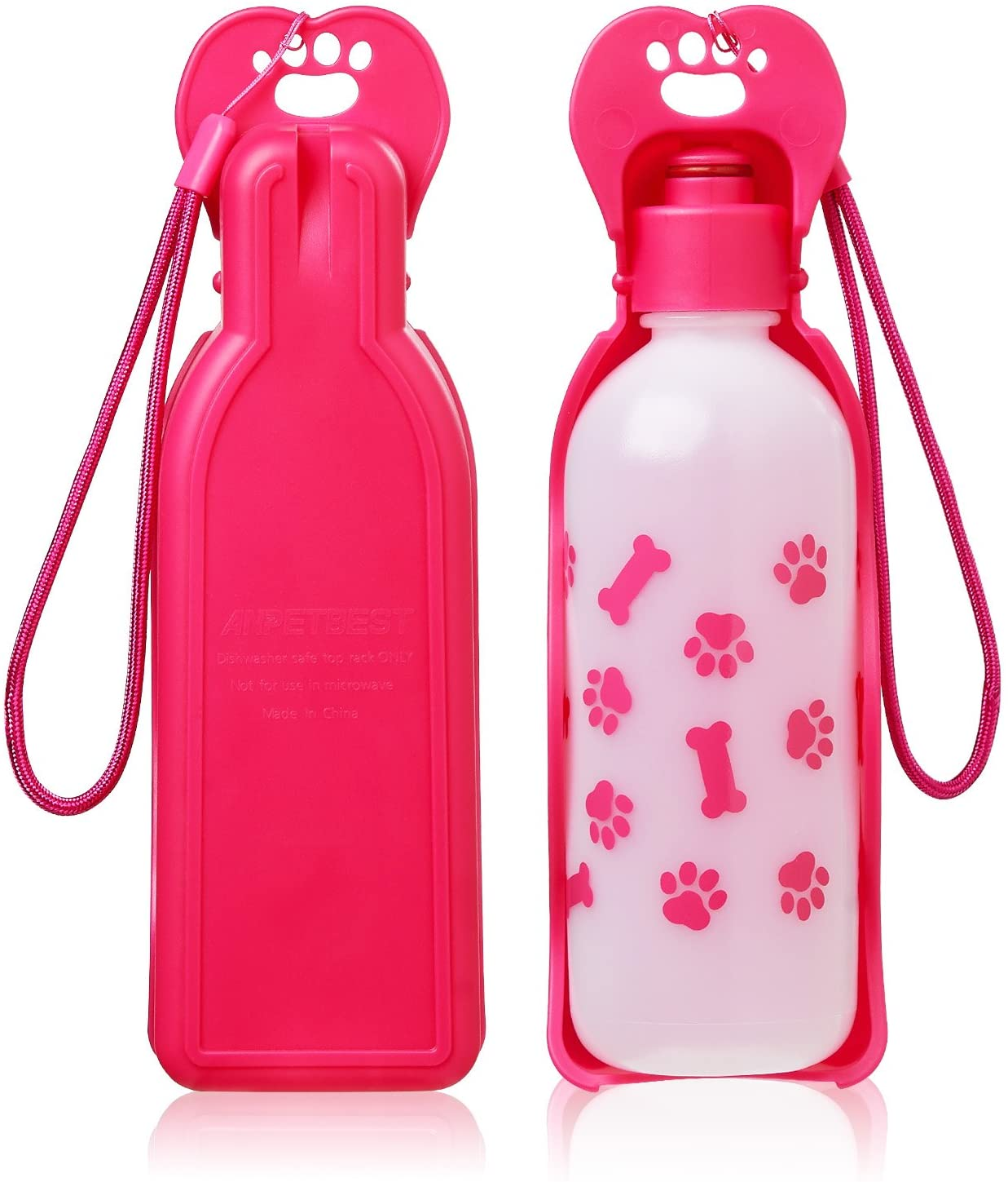ANPETBEST Dog Water Bottle 325ML/11oz 650ML/22oz Portable Dispenser Travel Water Bottle Bowl for Dog Cat Small Animals (325ml/11oz, Pink)