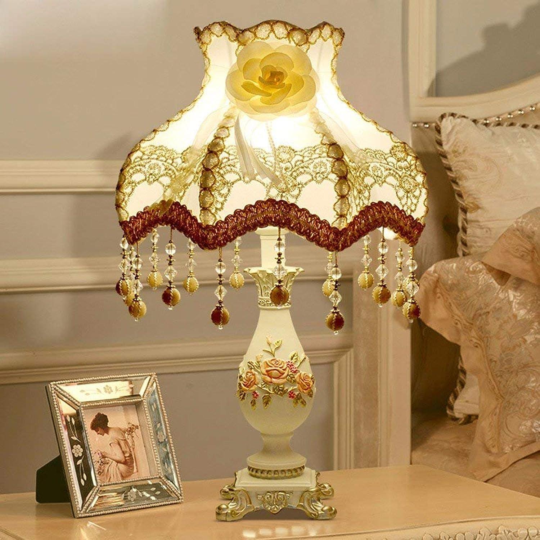 DEE Tischlampe-Europische Tischlampe Schlafzimmer Nachttischlampe Luxus dekorative Tischlampen,Drucktaste