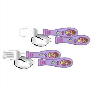 Zak Designs Fancy Nancy - Kid Flatware Set with Fun Character Art on Both Utensils, Non Slip Fork and Spoon Set is Perfect for Encouraging Picky Kids to Finish Their Plates (2 pk, BPA-Free)​