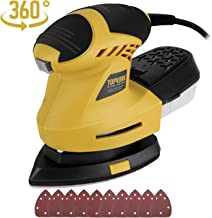 Ginour Detail Sander, 1.6A Sander with 10Pcs Sandpapers, 360° Rotating Sanding Pad, 12000OPM, 3M Cord, Dust Container, Perfect for Tight Spaces Sanding