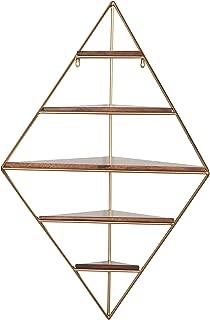 Rivet Modern Corner Floating Triangle 5 Shelf Wall Unit Decor - 36 Inch, Natural Wood and Gold