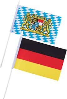 Juvale Bavaria and Germany Oktoberfest Stick Flags - 72-Piece Hand-Held Bavarian German Theme Party Decoration Flags on Stick with Spearhead Tip, 36 of Each Flag, 8 x 5 Inches