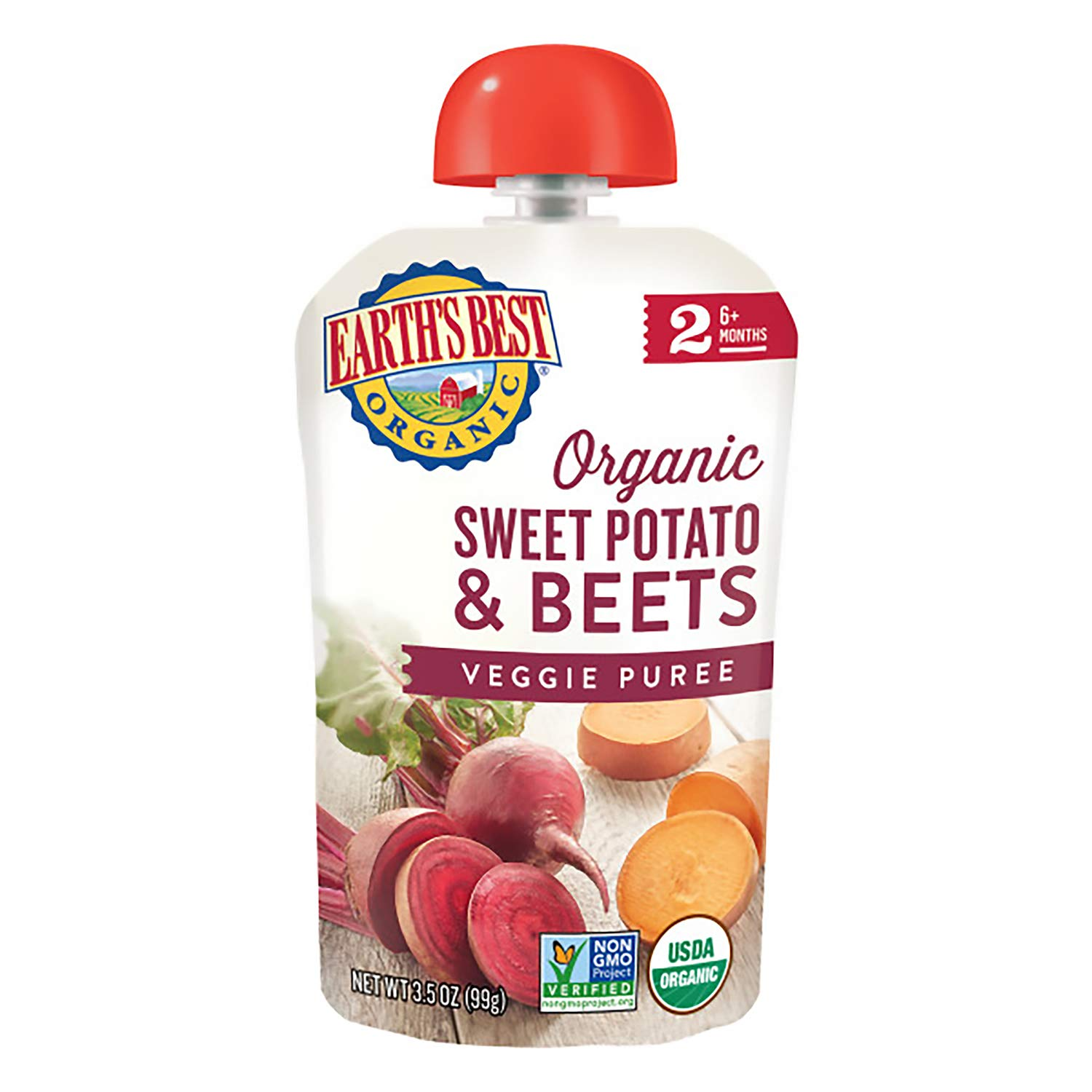Earth's Best Organic Stage 2 Baby Food, Sweet Potato  Beets, 3.
