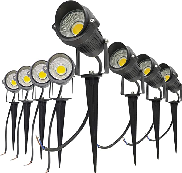 Casoter 12V 5W Warm White Outdoor Low Voltage Landscape Lights Pathway Garden LED Spotlight With Tree Flag Stake Waterproof IP65 Pack Of 8