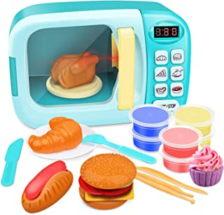 GrowthPic Toy Kitchen Microwave Play Set, Kids Electronic Pretend Play Oven Toy Set with Play Food and Play Dough for Toddler Boys Girls and 2 3 4 5 6 Years Old
