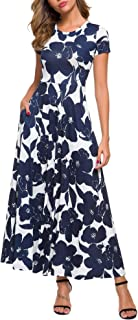 Women's Long Sleeve Round Neck Casual Flowy Long Maxi Dresses with Pockets