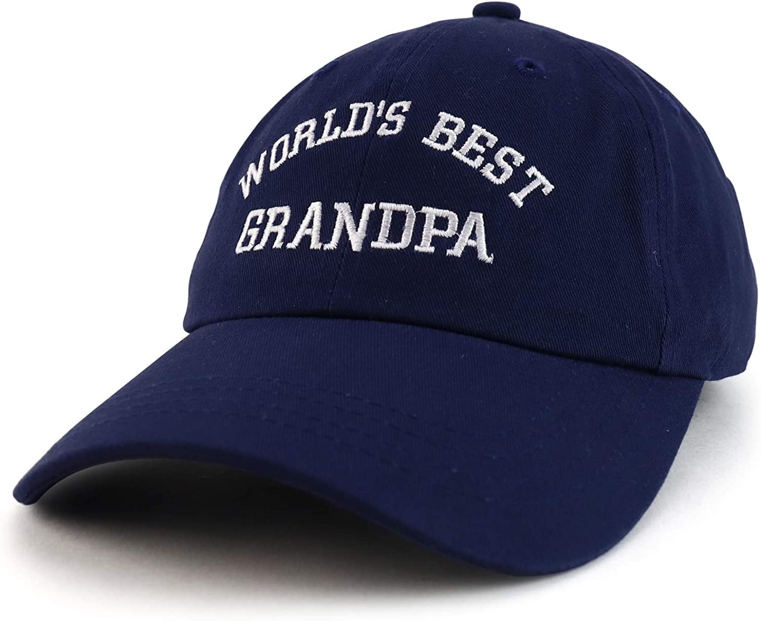 Trendy Apparel Shop World's Best Grandpa Embroidered Low Profile Soft Cotton Dad Hat Cap